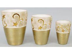 Набор 3 вазы Gold Motifs Star 17.5 см 15 см и 12 см (psg_BD-254-V23)