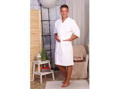 Вафельный халат Luxyart Кимоно XL Белый (LS-0411)