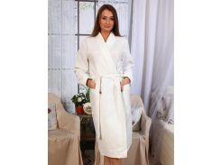 Вафельный халат Luxyart Кимоно L Белый (LS-0402)