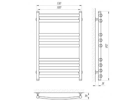Электрический полотенцесушитель Laris Классик Премиум П9 500x800 Э 73207175