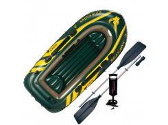 Лодка надувная Intex 68380 SEA HAWK-3 на 3 человека Зеленый (int68380)