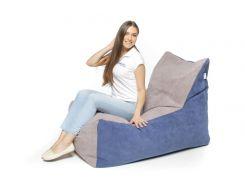 Кресло-мешок KIDIGO Комфорт ткань Серый с синим (KMP-CT)