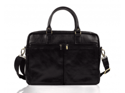 Мужская кожаная сумка для ноутбука Solier 17 Черная (SL01Black)