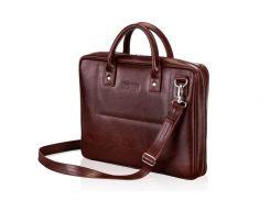 Мужская кожаная сумка для ноутбука Solier 15 - 15.6 Каштановая (SL21Maroon)