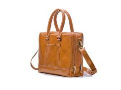 Мужская кожаная сумка для ноутбука Solier 15 - 15.6 Светло-коричневая (SL02Camel)