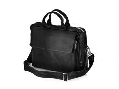 Мужская кожаная сумка для ноутбука Solier 15 - 15.6 Черная (SL30Black)