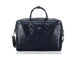 Кожаная женская сумка для ноутбука Felice 17 Синяя (MarinaBlue)