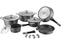 Набор кухонной посуды Royalty Line RL-ES2014M Black 14pcs Мраморное покрытие (5722000701019)