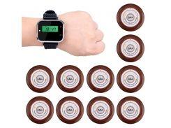 Беспроводная система вызова официанта Tivdio F3300 с часами и 10 кнопками вызова (100065)