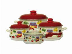Набір емальованого посуду Еміна 2/3.5/5.5 л ківш1.5л без кр. Варення (2554) ТМ Metrot (87702)