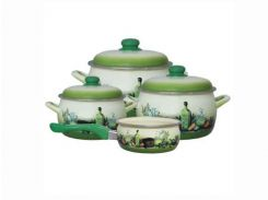Набір емальованого посуду Принц 2/2.4/5.3 л ківш 1.3л без кришки ТМ Metrot Тоскана Зелений (87727)