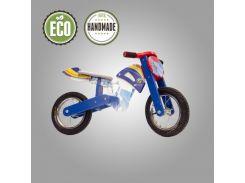 Велобег деревянный Solid Design Flinstoun синий
