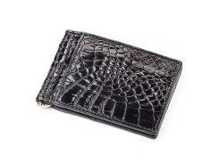 Зажим CROCODILE LEATHER 18050 из натуральной кожи крокодила Черный, Черный