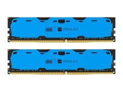 Оперативная память для компьютера DDR4 16GB (2x8GB) 2400 MHz Iridium Blue Goodram IR-B2400D464L15S/16GDC (U0246757)