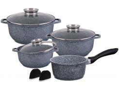 Набор посуды из 9 предметов Edenberg с гранитным покрытием Серый (EB-8010)