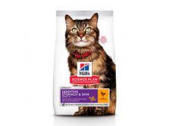 Сухой корм Hills Science Plan Adult Sensitive Stomach & Skin для кошек с курицей, 7 кг