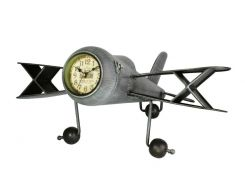Настольные часы Antique Самолет Металл 45х42х20 см Серебристый (20806)