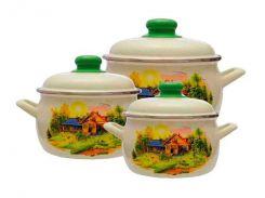 Набір емальованого посуду Принц 2.2/4/5.3 л Будинок в селі (2281) ТМ Metrot Бежевий (87751)