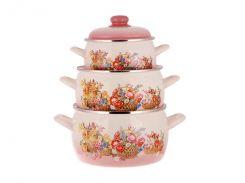 Набір емальованого посуду Принц 2.2/4/5.3 л (2299) ТМ Metrot Кошик квітів (163185)