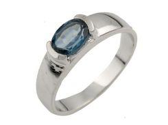 Серебряное кольцо Silver Breeze с натуральным топазом Лондон Блю 17 размер (0463254)