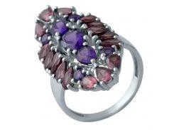 Серебряное кольцо SilverBreeze с натуральным аметистом 19.5 размер (2013990)