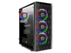 Корпус 1stPlayer D8-A-R1 Color LED Black без БП