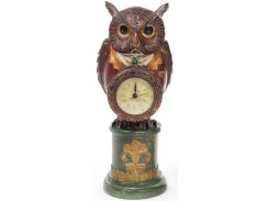 Декоративная фигурка с часами Мудрая Сова в красном кафтане 32 см (psg_BD-419-129-PA)