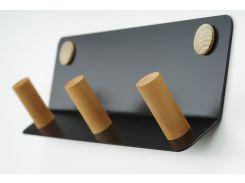 Настенная вешалка для верхней одежды в прихожую, черная/ натуральное дерево (VB33ALL(I)-3MB-)