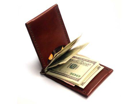 Зажим для денег OldSalt из натуральной итальянской кожи Коньяк (as110101-1)