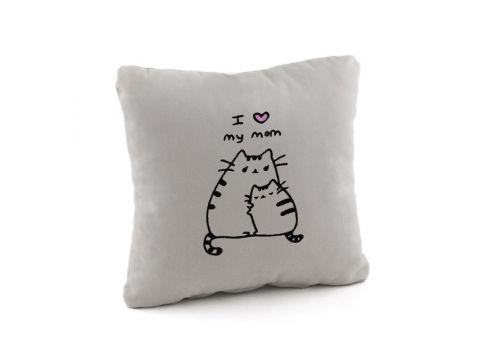 Подушка подарочная «Люблю маму» Серая (PW_308_fk_bg)