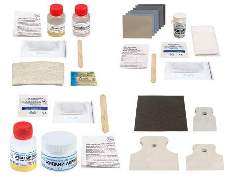 Ремкомплект для акриловых ванн ПРОСТО И ЛЕГКО ремонт сквозных трещин и пробоин со стеклотканью 50 г Белый (rk_acr_S_50)