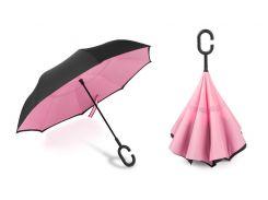 Зонт наоборот Up-brella Черный/розовый (hub_hFxT68318)