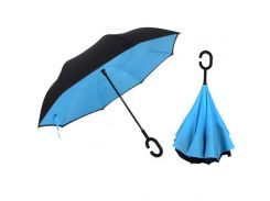 Зонт наоборот Up-brella Черный/голубой (hub_Moif79658)