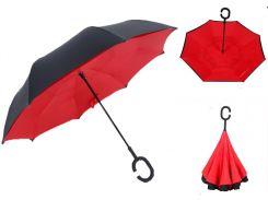 Зонт наоборот Up-brella - Зонт обратного сложения Черный/красный (an1125)