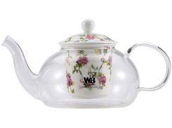 Чайник заварочный Wellberg Fannings 700 мл стеклянный с керамическим фильтром (WB-6870_psg)