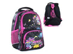 Рюкзак школьный World Little Girl 2 отделения 3 кармана Черный с розовым (109578)