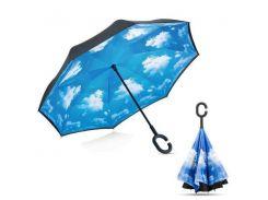 Зонт наоборот UnBrella 2.0 Черный/голубой (hub_QwCd81345)