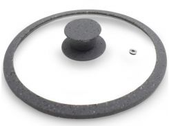 Крышка стеклянная Fissman Arcades 28 см с силиконовым ободом Серый мрамор (psg_FN-GL-9984)