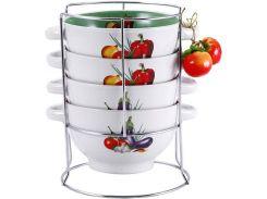 Набор пиал-бульонниц Wellberg Овощи Mix-ІІІ 680 мл на подставке (psg_WB-20706)