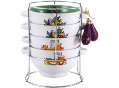 Набор пиал-бульонниц Wellberg Овощи Mix-ІV 680 мл на подставке (psg_WB-20707)