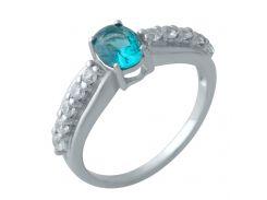 Серебряное кольцо Silver Breeze с натуральным топазом Лондон Блю 18 размер (2010678)