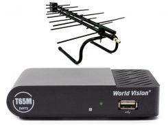 Комплект цифрового ТВ World Vision T65M + Комнатная антенна Eurosky ES-005A