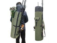 Сумка/чехол для 5 удочек, тубус для удилищ, рыболовный рюкзак, нейлон Dense forest olive   (1555)