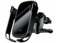 Автодержатель Baseus Rock-solid Electric Holder с беспроводной зарядкой Black