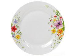 Набор 6 фарфоровых обеденных тарелок Bona Цветы акварелью d 27 см (psg_BD-970-210)