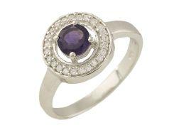Серебряное кольцо Silver Breeze с натуральным аметистом 16.5 размер (1229378)