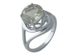 Серебряное кольцо Silver Breeze с натуральным зеленым аметистом 19 размер (2004486)