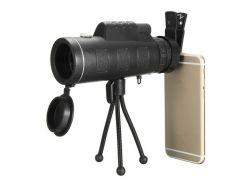 Монокуляр Panda 40х60 с креплением для телефона и треногой Черный (hub_BlqF30201)