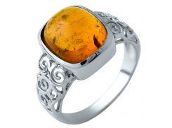 Серебряное кольцо Silver Breeze с янтарем 17 размер (1912799)