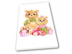 Картина на холсте в детскую Kronos Top Мишки с подарками 80 х 120 см (lfp_1215005368_80120)